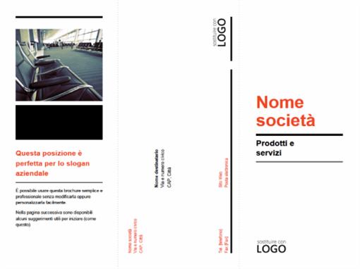 Brochure professionale pieghevole in tre parti (schema rosso e nero)