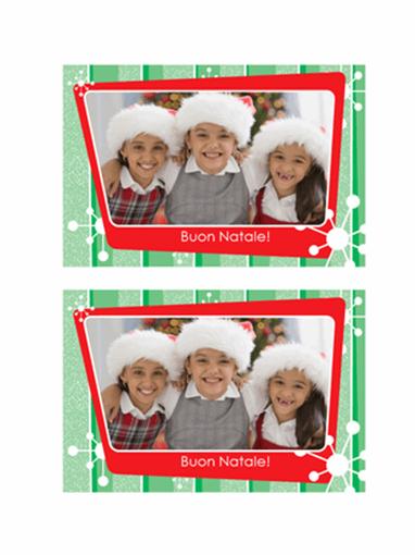 Biglietto fotografico natalizio (strisce verdi, cornice rossa)
