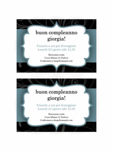 Inviti festa (design nastro azzurro, 2 per pagina)