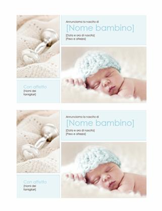 Annuncio di nascita bambino