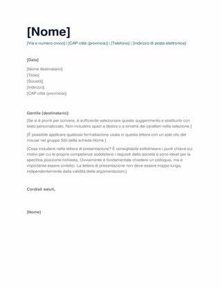 Lettera di presentazione semplice