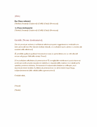 Lettera commerciale formale