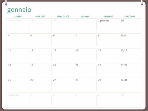 Calendario da parete classico (lun-dom, design a due anelli)