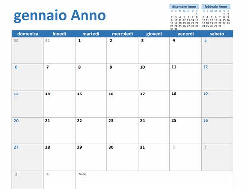 Calendario annuale personalizzato