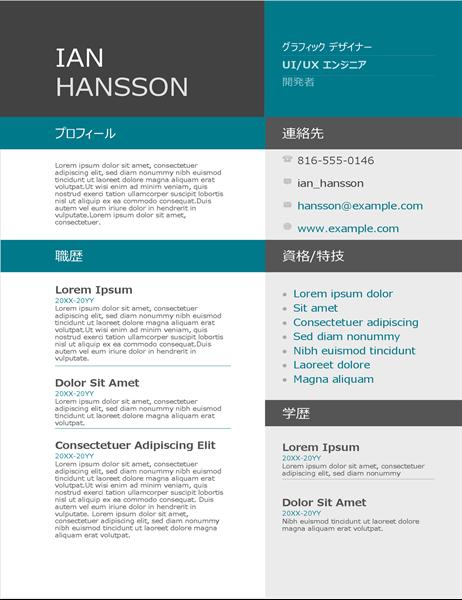 カラー ブロックの履歴書