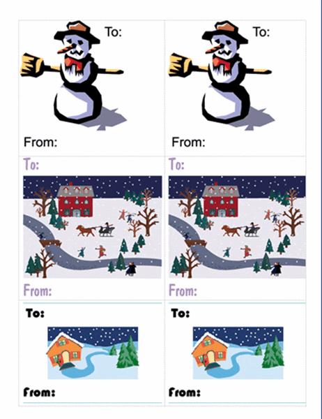 クリスマス プレゼント用ラベル (雪だるま/6分割)