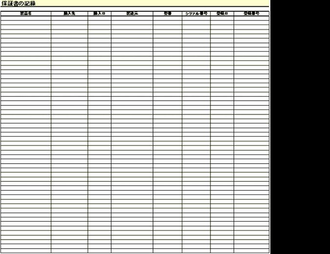 保証書の記録