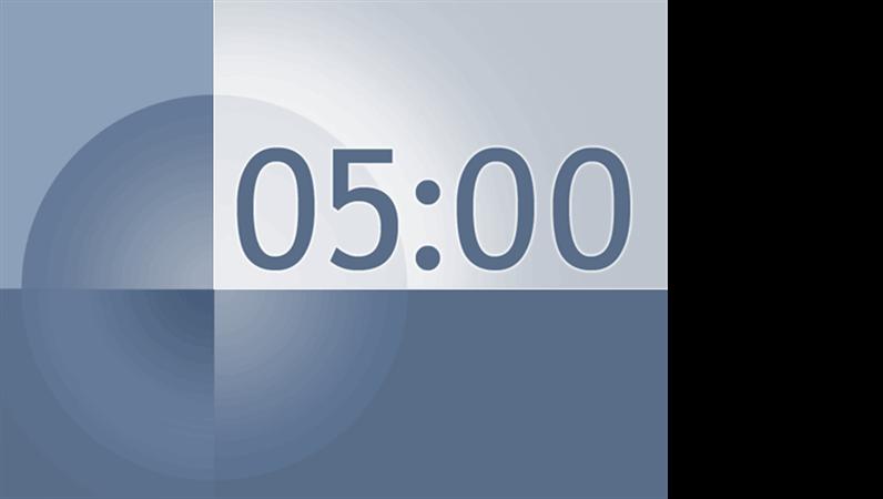5 分タイマのスライド (青色と灰色のデザイン)