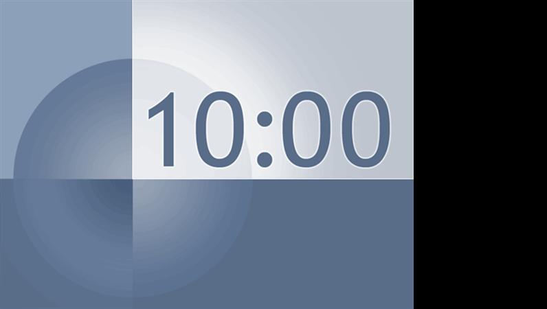 10 分タイマのスライド (青色と灰色のデザイン)
