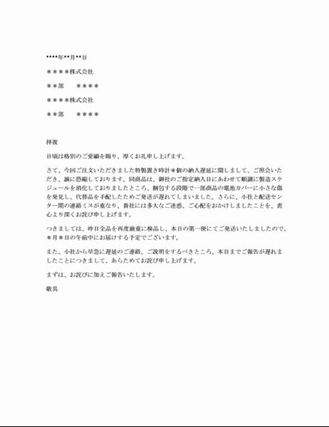 商品納期遅延への抗議に対するお詫び