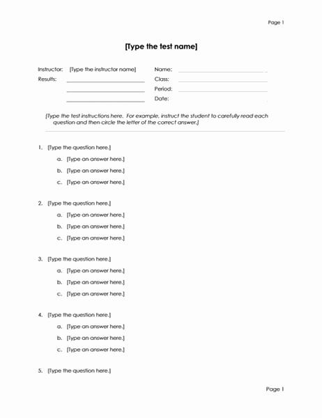 多数の選択式テスト (3 択)