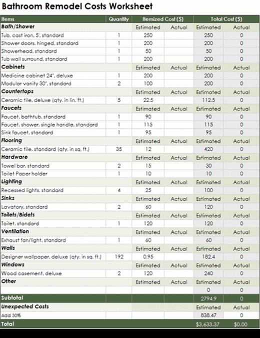 バスルームの改造費計算