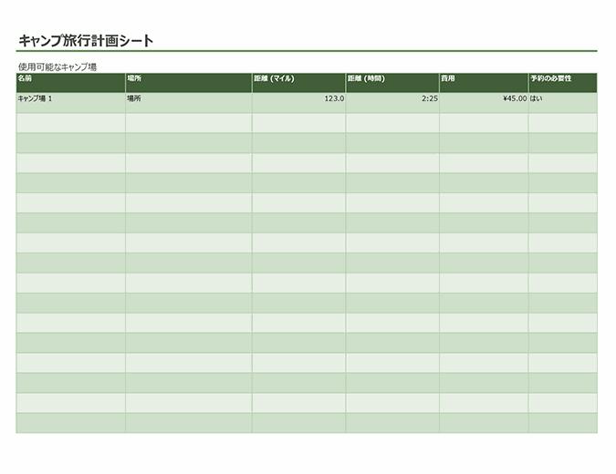 キャンプ旅行計画シート