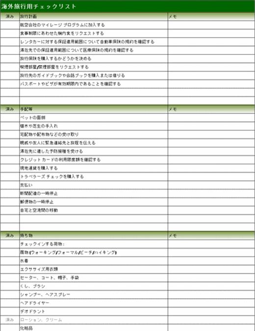 海外旅行用チェックリスト