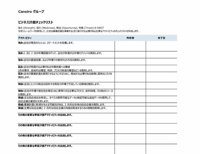 ビジネス計画のチェックリスト