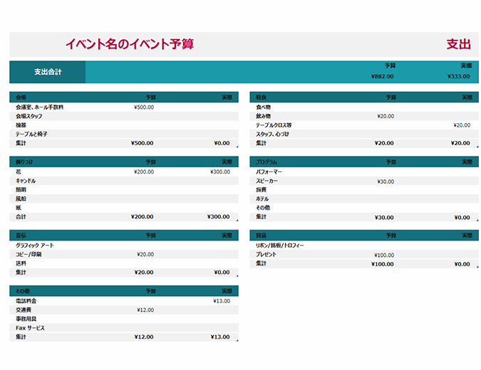 イベント予算シンプル