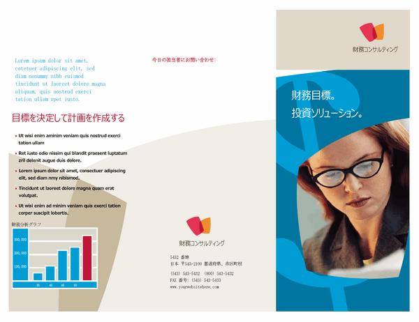 金融業向け ビジネス パンフレット (3 つ折り)