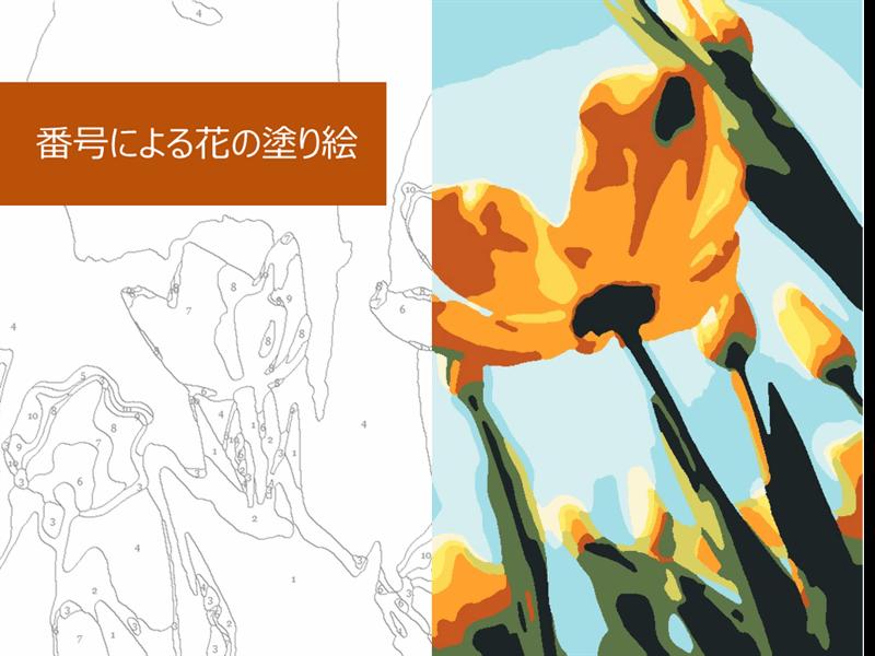 番号による花の塗り絵