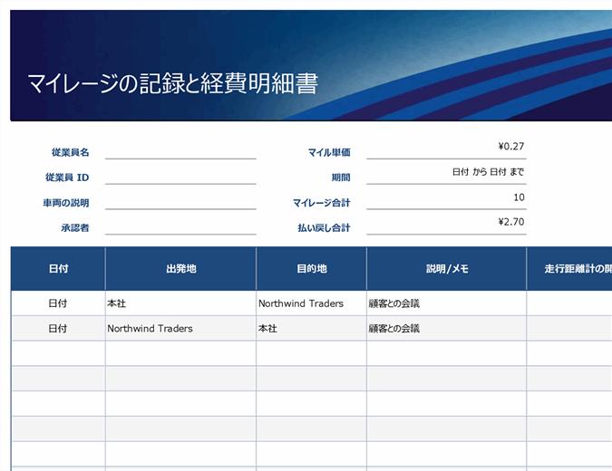 青のマイレージと経費明細書