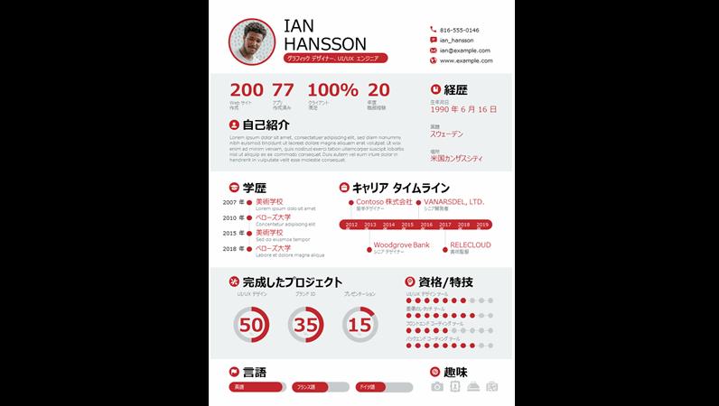 太字のインフォグラフィックの履歴書