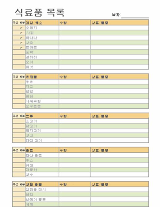 상표/품종란이 있는 식료품 목록