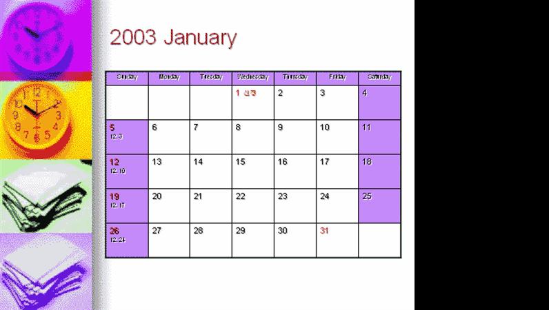 워크플레이스 디자인 2003년 달력(PowerPoint)