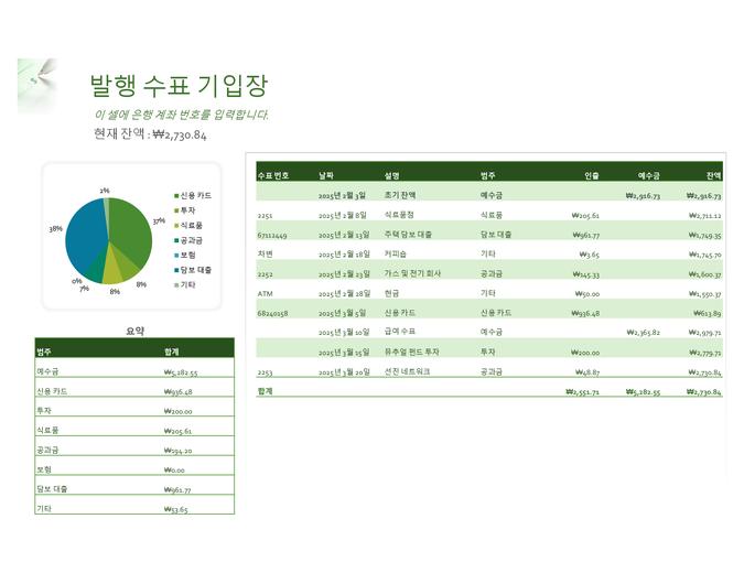 발행 수표 기입장 및 차트