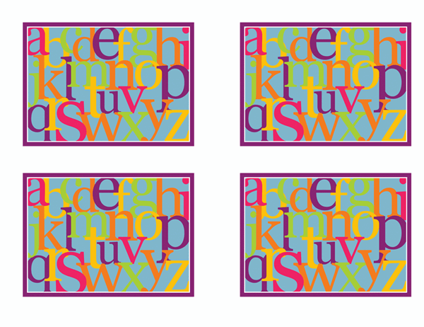 알파벳 문자 플래시 카드(뒷면; Avery 3263, 8387용)