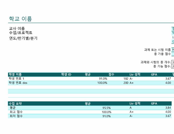 강사의 생활 기록부(점수 기준)