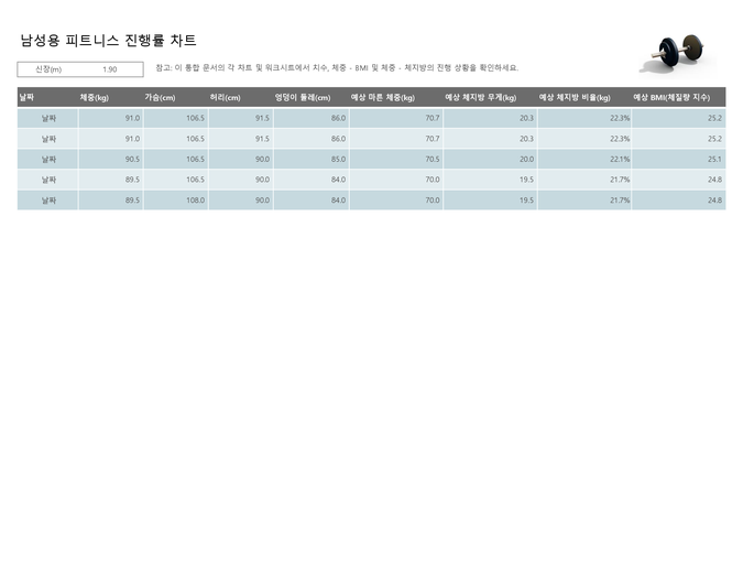 남성용 피트니스 진행률 차트(미터법)