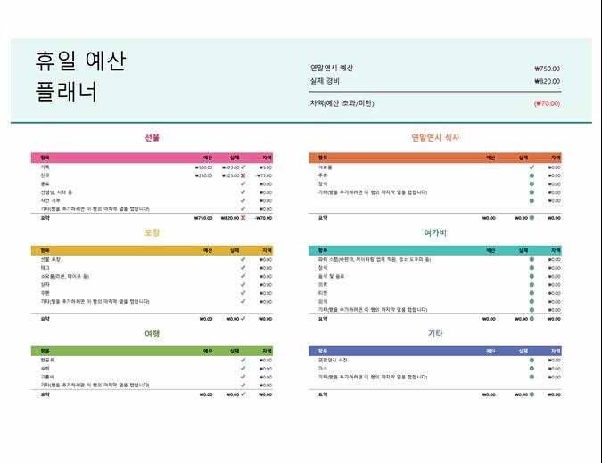 연말연시 예산 계획표