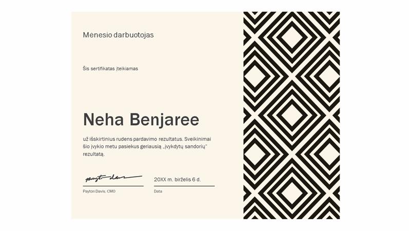 Mėnesio darbuotojo sertifikatas (deimantinis)