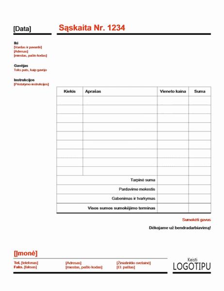 Įmonės sąskaita faktūra (raudona)