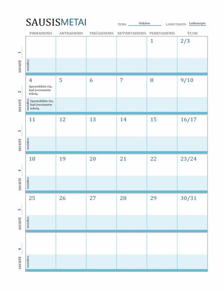 Pamokų planų kalendorius