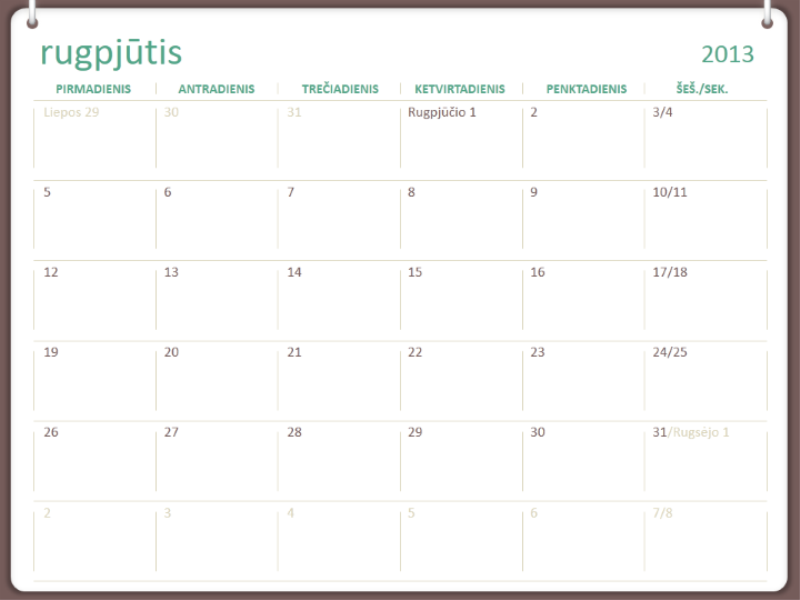 2013–2014 m. mokslo kalendorius (rugpjūtis)