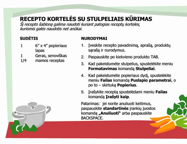 Receptų kortelės (kelių stulpelių)
