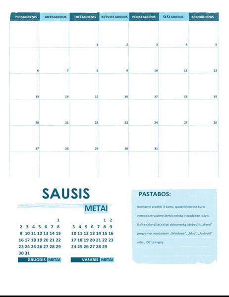 Akademinis kalendorius (vienas mėnuo, bet kurie metai, pirmadienis savaitės pradžioje)
