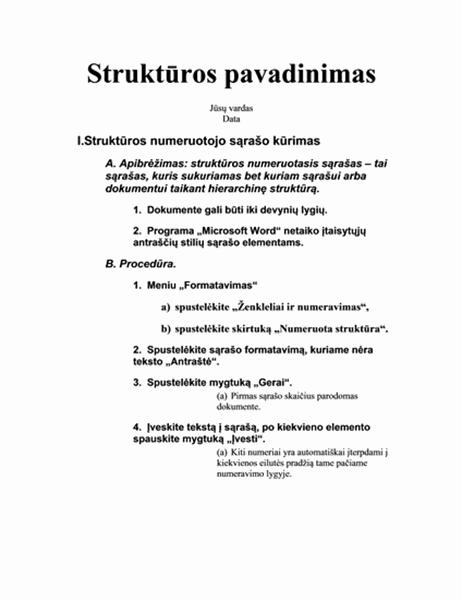 Penkių lygių struktūra su instrukcijomis
