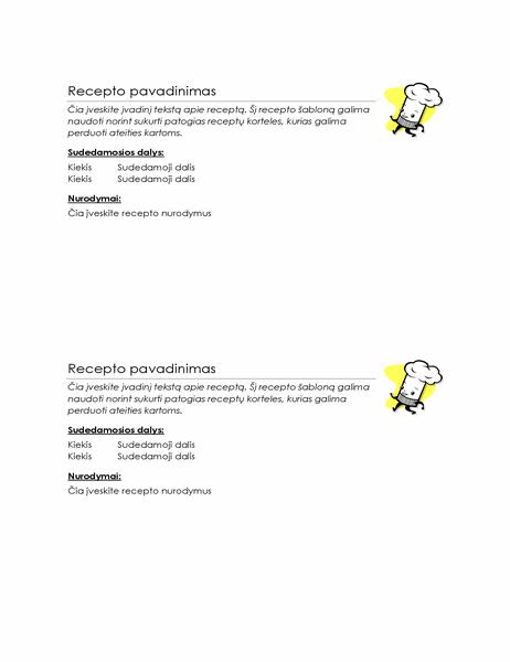 Receptų kortelės (2 viename puslapyje)