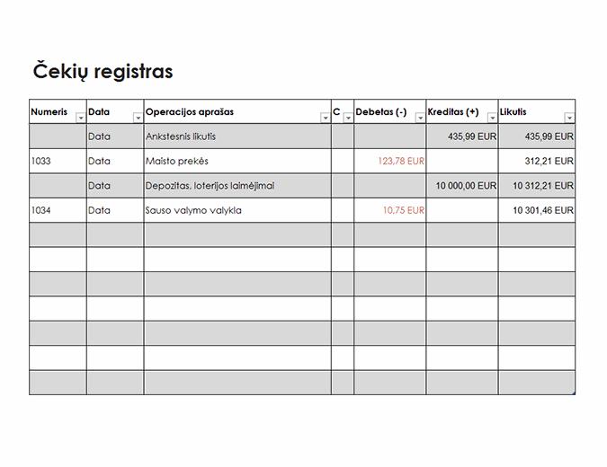 Čekių registras (paprastas)