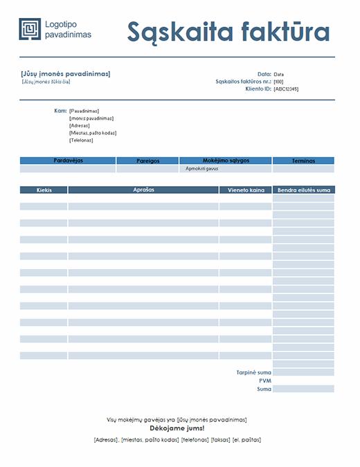 Paslaugos sąskaita faktūra (paprastas mėlynos spalvos dizainas)
