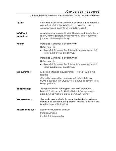Funkcinis gyvenimo aprašymas (minimalistinis dizainas)