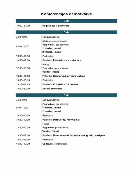 Konferencijos renginių darbotvarkė