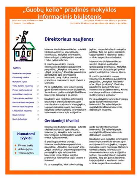 Mokyklos informacinis biuletenis (3 skiltys, 4 puslapyje)
