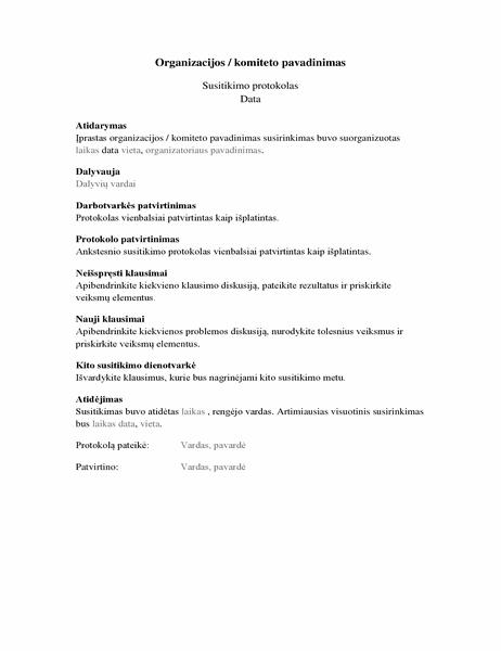 Organizacijos susitikimo protokolas (ilga forma)
