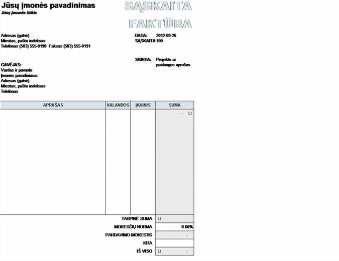 Paslaugų sąskaita faktūra su mokesčių skaičiavimu