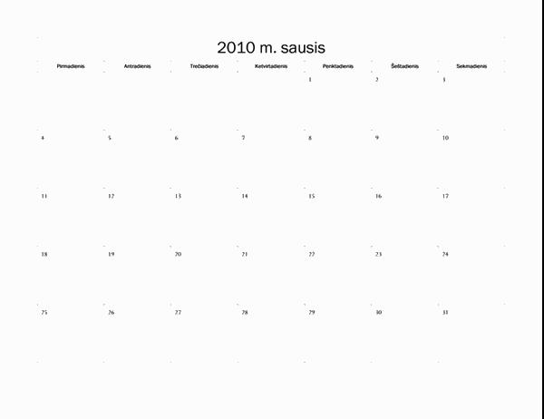 2010 m. kalendorius (paprastas dizainas, Pr–S)