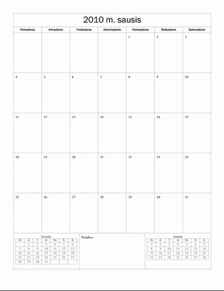 2010 m. kalendorius (paprasto dizaino, Pr–S)