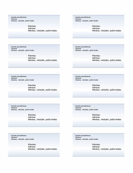 Siuntimo etiketės (mėlyno gradiento dizainas, 10 viename puslapyje)