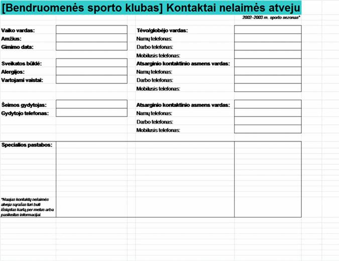 Bendruomenės sporto klubo greitosios pagalbos kontaktų sąrašas